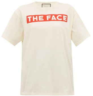 Gucci The Face-print Cotton Jersey T-shirt - White