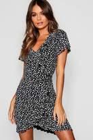 boohoo Dalmatian Wrap Front Ruffle Tea Dress