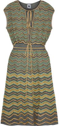 M Missoni Bow-detailed Striped Metallic Crochet-knit Midi Dress