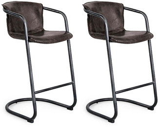 REGINA ANDREW Set of 2 Axl Barstools - Distressed Whiskey Leather frame, black; upholstery, distressed whiskey