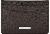 Hugo Boss Boss Signature Leather Card Holder, Dark Brown