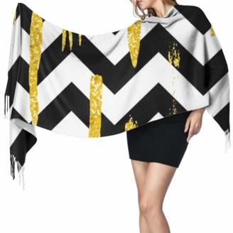 Yushg Golden Colorful Art Fashion Line Fringe Scarf Wrap Ladies Scarfs Womans Shawl Wrap 77x27inch/196x68cm Large Soft Pashmina Extra Warm