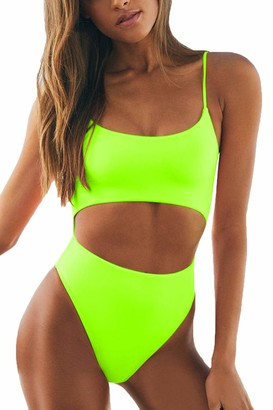 LEISUP Womens Spaghetti Strap Lace Up Cutout High Waisted Thong One Piece Swimsuit - Yellow - Small