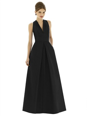 Alfred Sung Sleeveless Pleated Skirt Dupioni Dress with Pockets