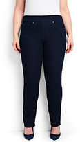 Classic Women's Plus Size Pull-on Straight Jeans-Champagne Marin Border Print