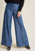 ModCloth Venturesome Vibes Wide-Leg Trousers in XL - Wide Denim Pant