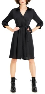 INC International Concepts Inc 3/4-Sleeve Belted Shirtdress, Created for Macy's