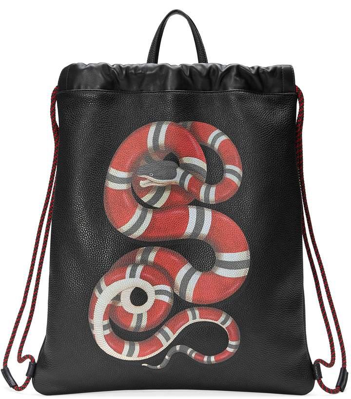 Gucci Kingsnake Leather Drawstring Backpack