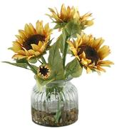Sunflowers in Ribbed Vase