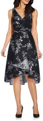 Adrianna Papell Printed Jacquard High/Low Hem Dress
