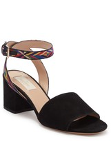 Valentino Woven Ankle Strap Suede Sandal