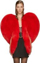 Saint Laurent Red Fur Heart Cape