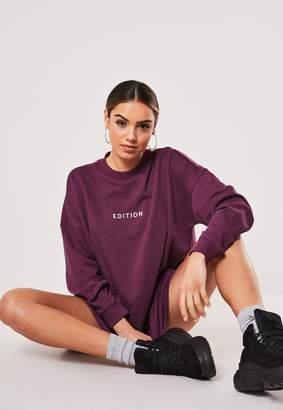 Missguided Purple Edition Slogan Sweater Dress