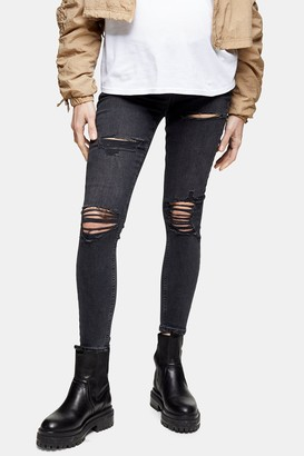 Topshop Womens **Maternity Washed Black Super Ripped Jamie Skinny Jeans - Washed Black