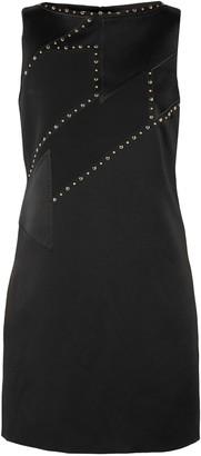 Versace Studded Paneled Satin And Crepe Mini Dress