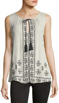 Romeo & Juliet Couture Border-Print Sleeveless Top