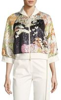Josie Natori Floral Bomber Jacket
