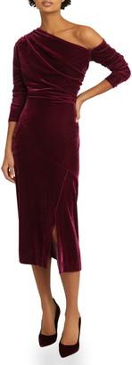 Reiss Bella Ruched Long Sleeve Off the Shoulder Velvet Dress