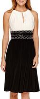 R & M Richards R&M Richards Sleeveless Embellished-Waist Fit-and-Flare Dress - Petite