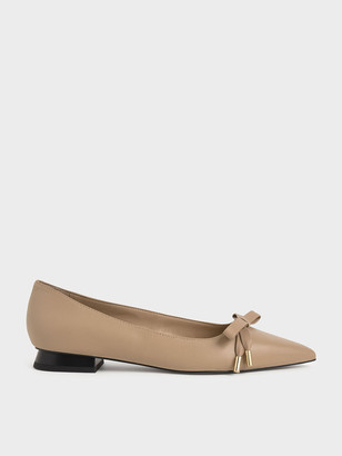 Charles & Keith Leather Bow Ballerina Flats
