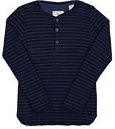 Scotch Shrunk Men's Striped Waffle-Knit Cotton Henley-BLUE