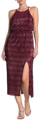 Lush High Neck Pleated Metallic Woven Midi Dress