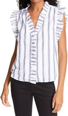 Frame Lauren Striped Ruffle Cotton Blouse