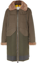 Moncler Garcia Shearling-trimmed Cotton-twill And Wool-blend Hooded Down Parka - Army green