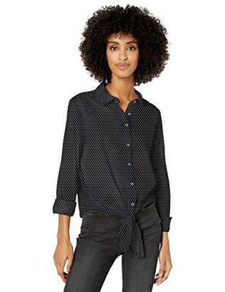 Goodthreads Lightweight Poplin Tie-front Shirt Button, White/Navy Windowpane, XL