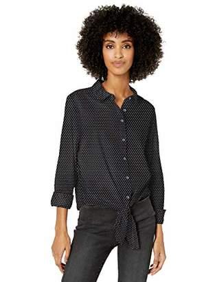 Goodthreads Lightweight Poplin Tie-front Shirt Button,XXL