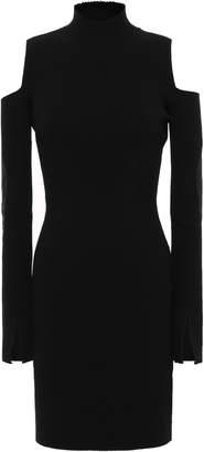 Versace Cold-shoulder Shell-paneled Ribbed-knit Mini Dress