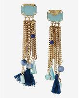 Express stone and tassel fringe post back earrings