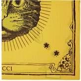 Gucci Men's Cat-Print Cotton Pocket Square