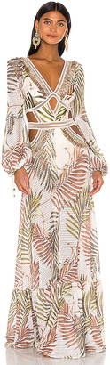 PatBO Palmeira Long Sleeve Crochet Beach Dress