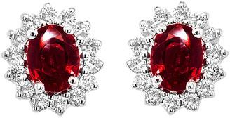 Diana M Fine Jewelry 14K 1.16 Ct. Tw. Diamond & Ruby Earrings