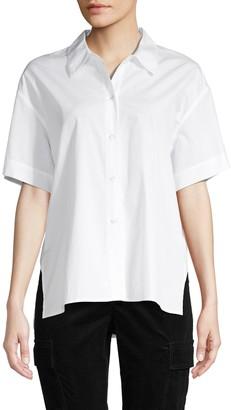Vince High-Low Cotton Button-Down Shirt