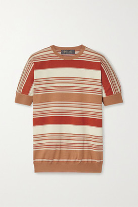 Loro Piana Giroccolo Tangery Striped Silk And Cotton-blend Sweater - Red