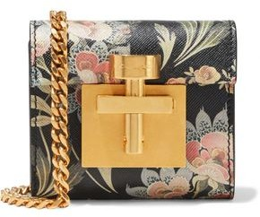 Oscar de la Renta Micro Alibi Convertible Floral-print Textured-leather Shoulder Bag