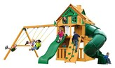 Gorilla Playsets Mountaineer Clubhouse Treehouse Swing Set with Fort Add-On & Amber