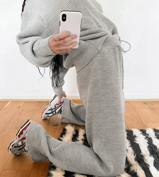 Collusion knitted ribbed jogger co ord in grey