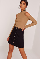 Missguided Cold Shoulder Rib Tipped Crop Top Camel
