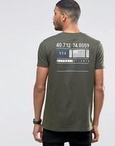 Asos Longline T-Shirt With Flag Chest And Back Print In Khaki