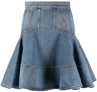 Alexander McQueen Ruffle-Hem Denim Skirt