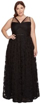 Adrianna Papell Plus Size Sleeveless Long Tule Rosette Ball Gown Women's Dress