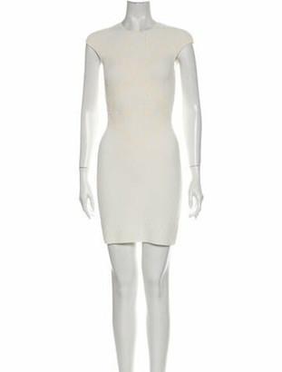 Alexander McQueen Crew Neck Mini Dress White