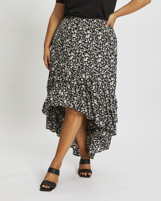 You & All - Women's Black Two-piece sets - Plus Floral Print Frill Hi-Lo Skirt - Size One Size, 18 at The Iconic