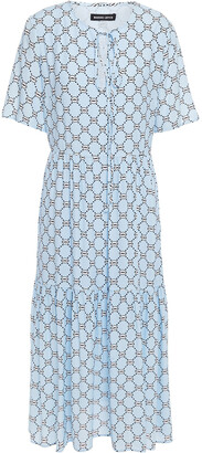 Markus Lupfer Carter Gathered Printed Crepe Midi Dress