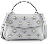 MICHAEL Michael Kors Ava Small Jeweled Satchel Bag, Gray