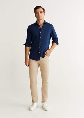 MANGO MAN - Slim fit structured real indigo shirt indigo blue - XXS - Men