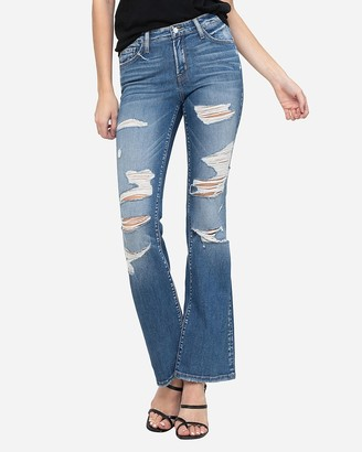 Express Flying Monkey Mid Rise Ripped Bootcut Jeans